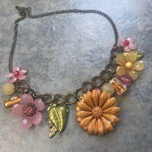 Sunflower Floral Bead Statement Necklace Choker